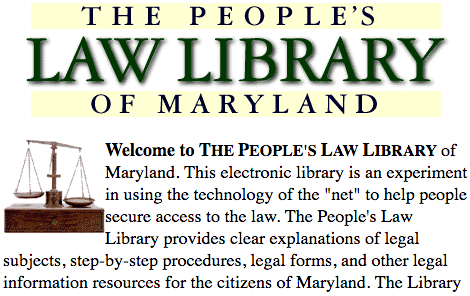Clip from screenshot of front page of People's Law site, April 15, 1997