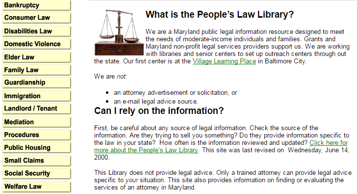 Clip from screenshot of front page of People's Law site, June 14, 2000